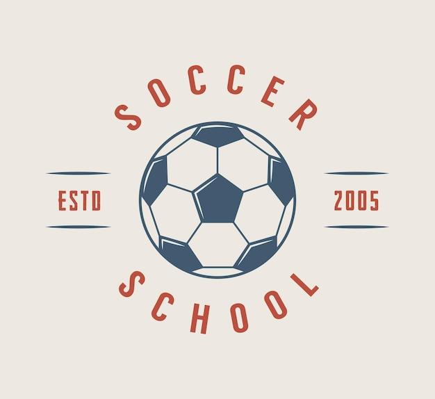 ヴィンテージサッカーまたはサッカーのロゴ、エンブレム、バッジ。ベクトルイラスト。グラフィックアート。
