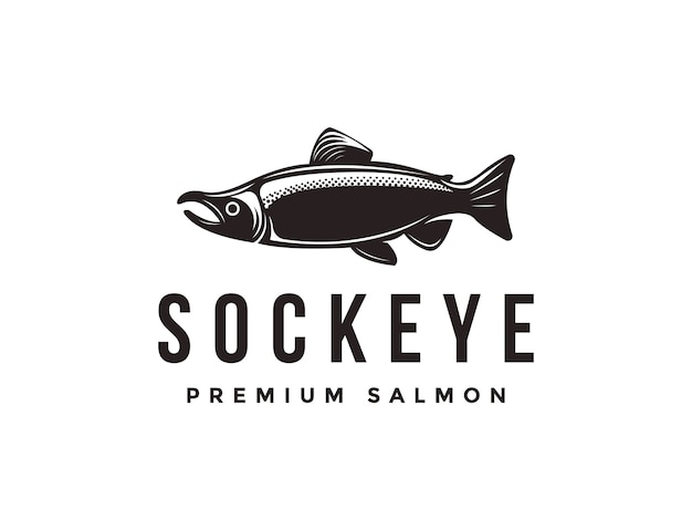 Vintage sockeye salmon fish logo icon template