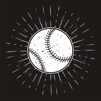 Vintage softball with sunburst on grunge background