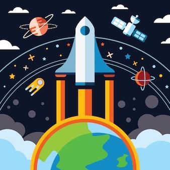 빈티지 공간과 우주 비행사 배경입니다.