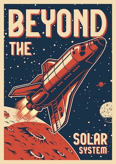 Vintage space colorful poster