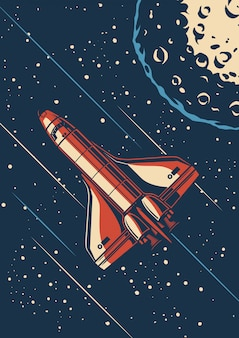 Vintage space discovery poster
