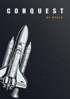 Vintage space exploration poster