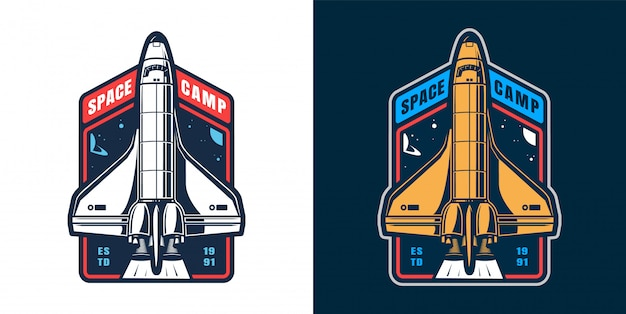 Vintage spaceship launch label set