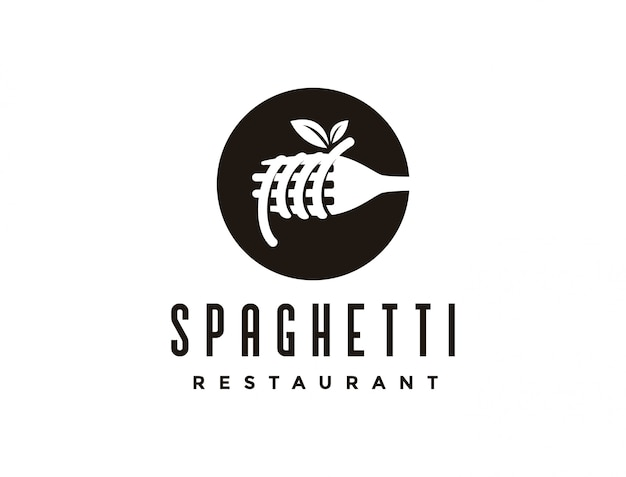 ビンテージスパゲッティパスタ麺ロゴ