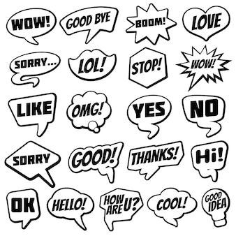 Vintage speech bubble with internet chat dialog words comic collection