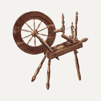 Vintage spinning wheel illustration vector, remixed from the artwork by ludmilla calderon