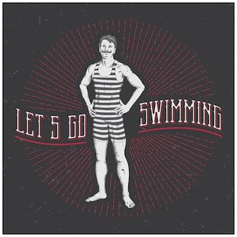 Vintage sportive man poster