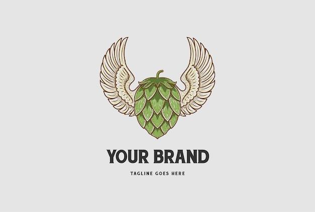 공예 맥주 양조장 레이블 로고 디자인 벡터에 대 한 홉과 빈티지 확산 날개