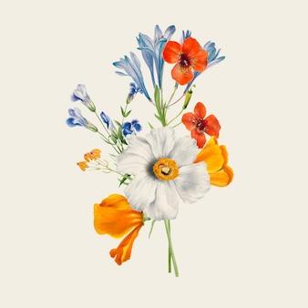 パブリックドメインのアートワークからリミックスされたヴィンテージの春の花のイラスト