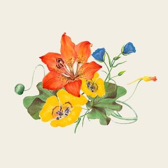Vintage spring flower illustration, remixed from public domain artworks