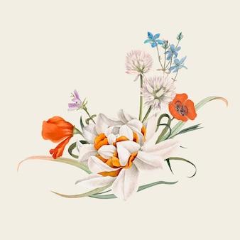 공개 도메인 작품에서 리믹스된 빈티지 봄 꽃 그림