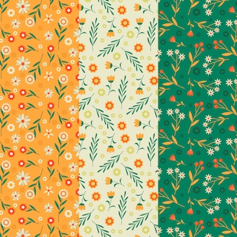 Vintage spring flowers and leaves seamless pattern