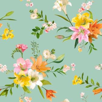 Старинные весенние цветы бесшовные цветочные лилии