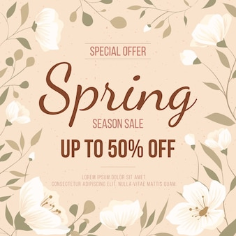 Vintage spring sale with flowers