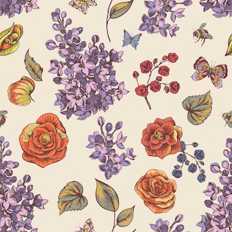 Vintage spring seamless pattern with blooming flowers of begonia, lilac