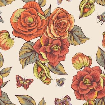 ベゴニアの花を持つヴィンテージ春シームレスパターン