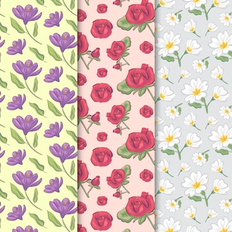 Vintage spring seamless pattern with roses and field flowers