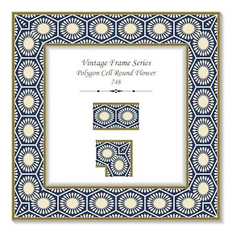 ヴィンテージ正方形3dフレームポリゴンセルラウンド花万華鏡、レトロなスタイル。