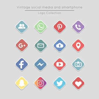 Vintage square social media and smartphone icons set