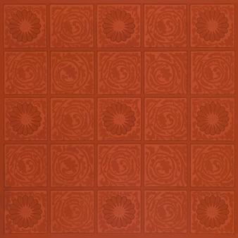 ヴィンテージの四角い赤い花のパターン