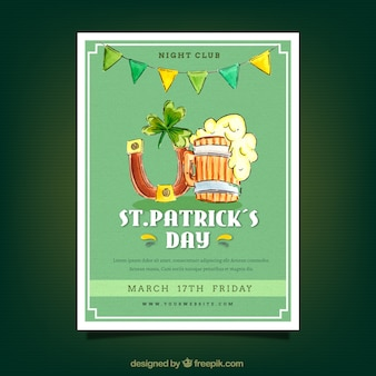 Vintage st patrick's day flyer with traditional decoration