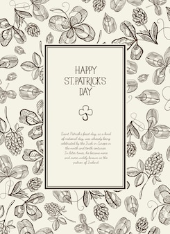 Vintage st patricks day floral template with text in rectangular frame and sketch irish clover vector illustration