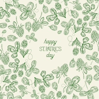 비문 스케치 아일랜드 토끼풀과 네 잎 클로버 벡터 일러스트와 함께 빈티지 세인트 패트릭 데이 녹색 템플릿