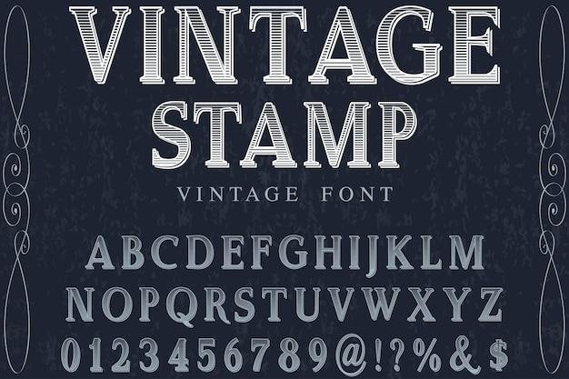 Vintage stamp font handcrafted