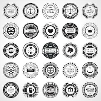 빈티지 스탬프는 회사 로고를 각인합니다. 흑백 세트