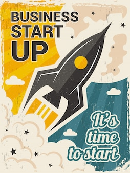 Vintage startup poster. business launch concept with rocket or space shuttle start  placard in retro style