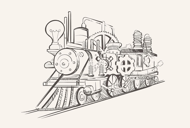 Vintage steampunk train with gears, industrial age