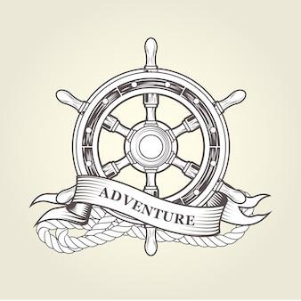 ヴィンテージステアリングホイール-航海用ハンドホイール