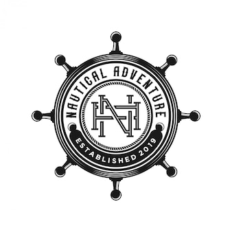 Vintage steering wheel ship logo