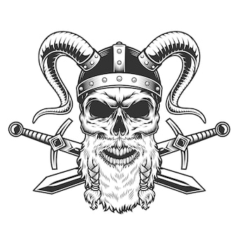 Vintage stern bearded viking skull