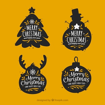 Vintage stickers set of christmas elements silhouettes