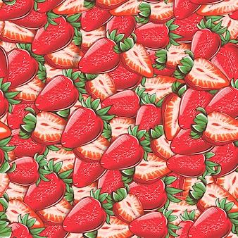 ビンテージイチゴのシームレスパターン