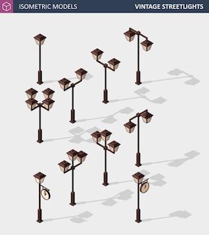 Vintage streetlights. retro street lamp lights isolated on white