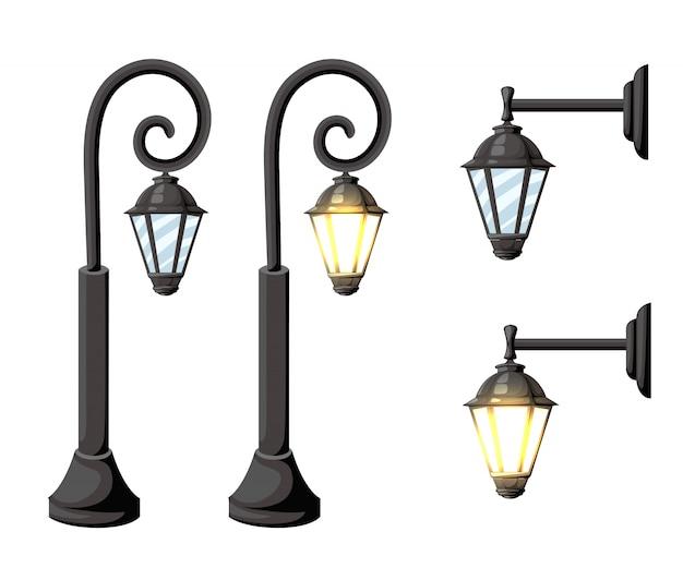 Старинные уличные фонари. ретро уличные фонари на белом фоне, изолированные на белом фоне страница веб-сайта и мобильное приложение
