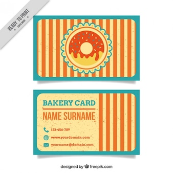 Vintage stripes bakery card with donut