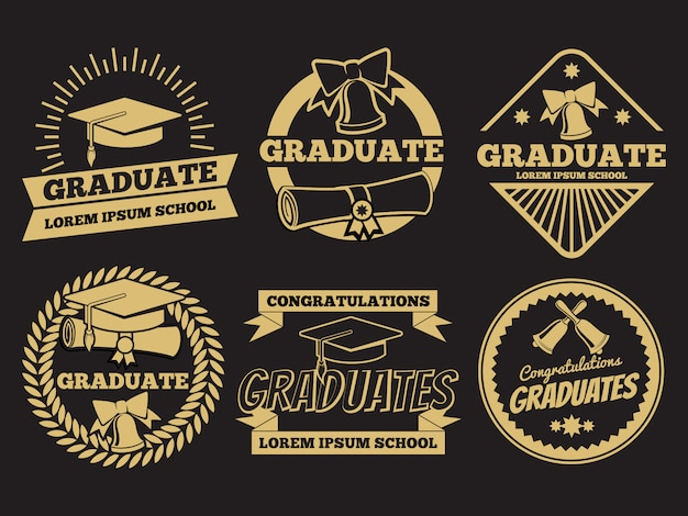 Vintage student graduate vector badges. graduation label set