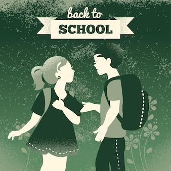ヴィンテージ学生の背景。学校の男の子と女の子。学校のイラストに戻る