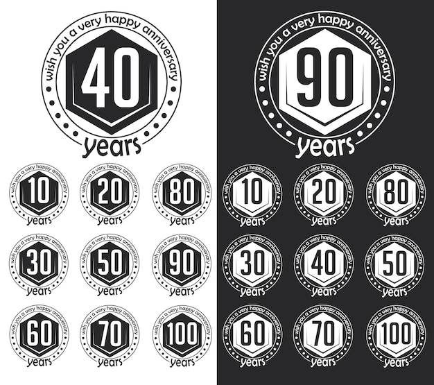Vintage style anniversary sign collection. anniversary cards design in hipster style.