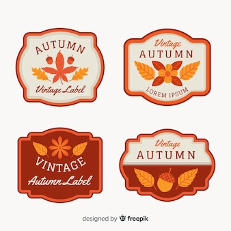 Vintage style autumn badge collection