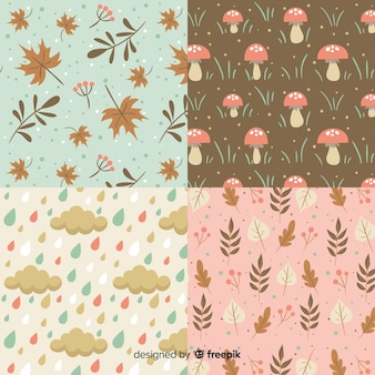 Vintage style autumn pattern collection