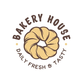 Vintage style bakery shop badge, emblem, logo.