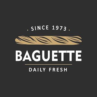 Vintage style bakery shop simple label badge emblem logo template baguette