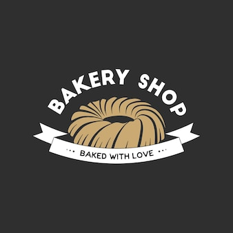 Vintage style bakery shop simple label, badge, emblem, logo template. graphic food art with engraved cake design vector element with typography. linear organic pastry on black background.