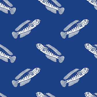 Vintage style blue snakehead fish seamless pattern on blue background