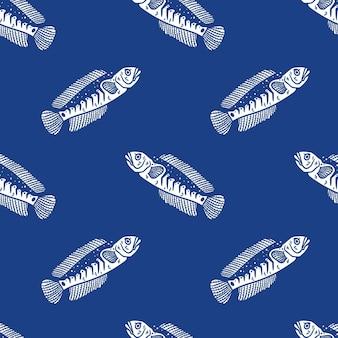 파란색 배경에 빈티지 스타일 파란색 뱀 머리 물고기 원활한 패턴